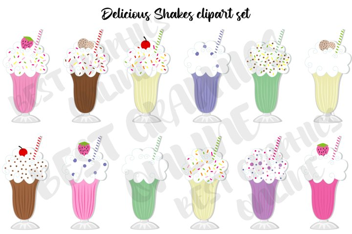 Delicious shakes clipart set Smoothie clipart Milk shake