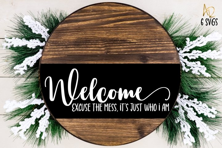 Funny Welcome Sign Set | 6 designs for wooden rounds frames