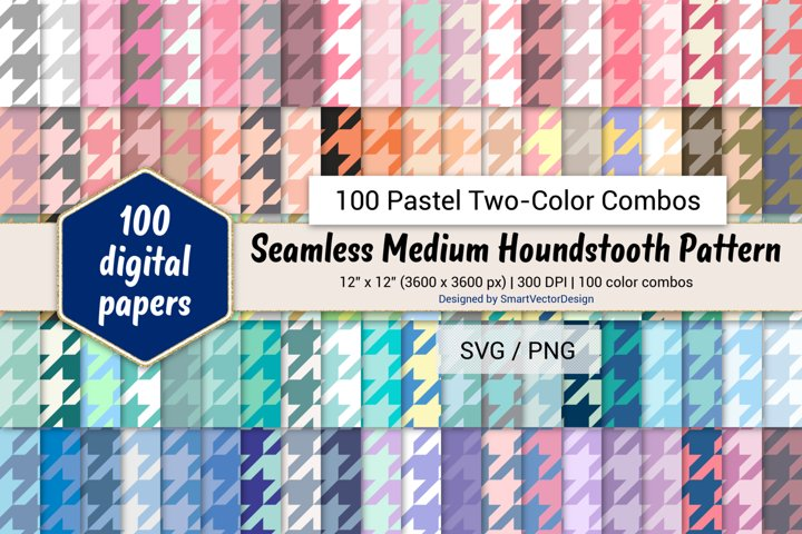 Seamless Houndstooth Paper - 100 Pastel Two-Color Combos
