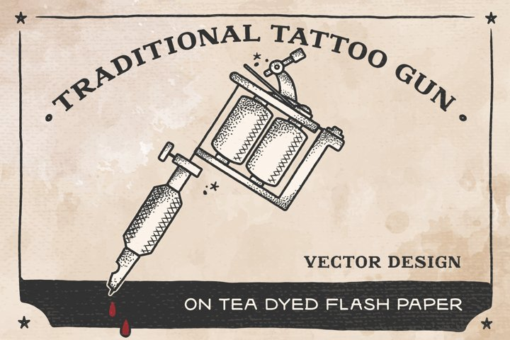 Traditional Tattoo Gun Vector