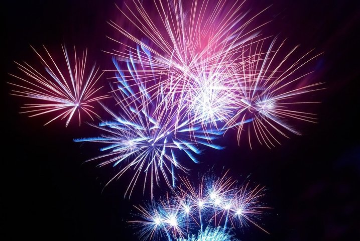 Colorful fireworks on black sky background