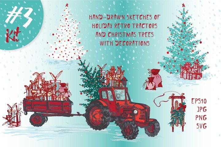 Set of Hand drawn Christmas tractors and holiday decorations