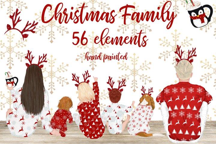 Christmas clipart,Christmas Family movie night, Xmas pajamas
