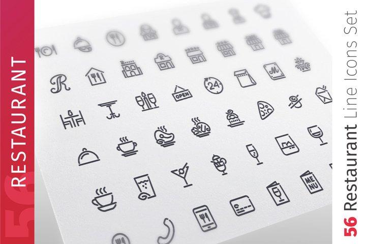 Restaurant Line Icons Set