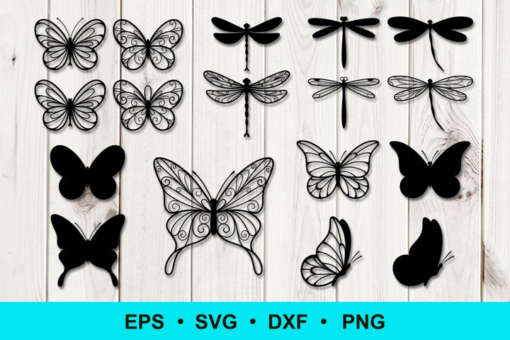 Butterfly and Dragonfly Silhouette Outline Clip art