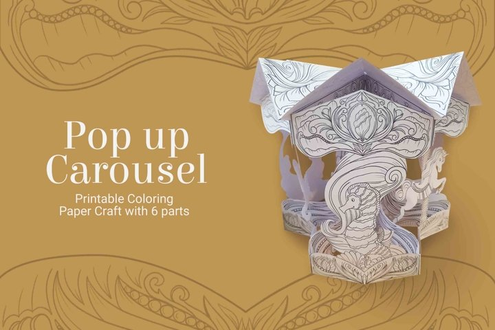 Pop up carousel paper craft and coloring page