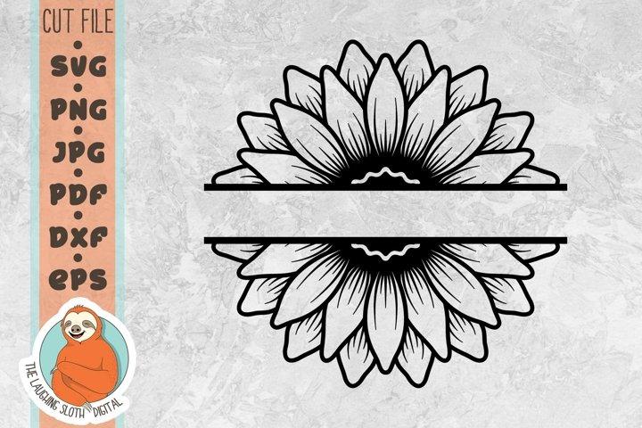 Split Sunflower SVG - Flower SVG