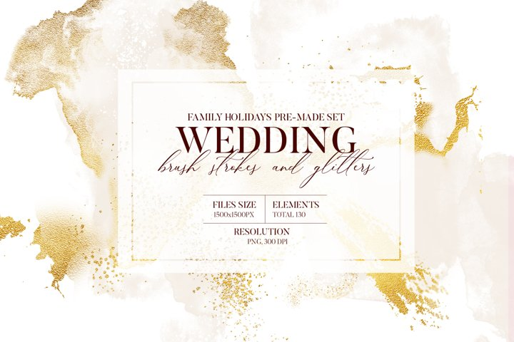 Abstract Watercolor background gold texture boho wedding