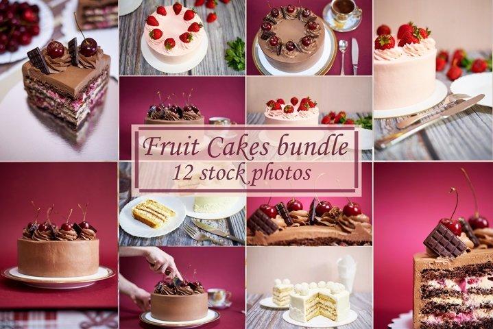 Fruit Cakes bundle 12 stock photos.