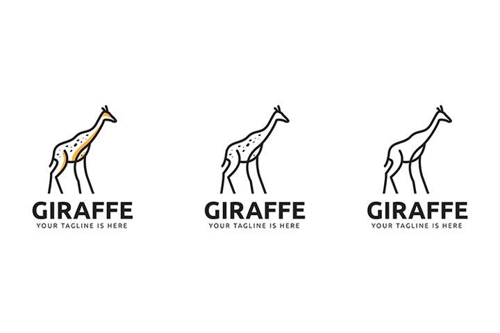 Giraffe Minimal Line Art Premium Logo