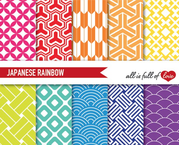 Rainbow Backgrounds Japanese Digital Graphics to Print