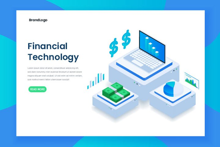 Flat color Modern Isometric financial technology concept