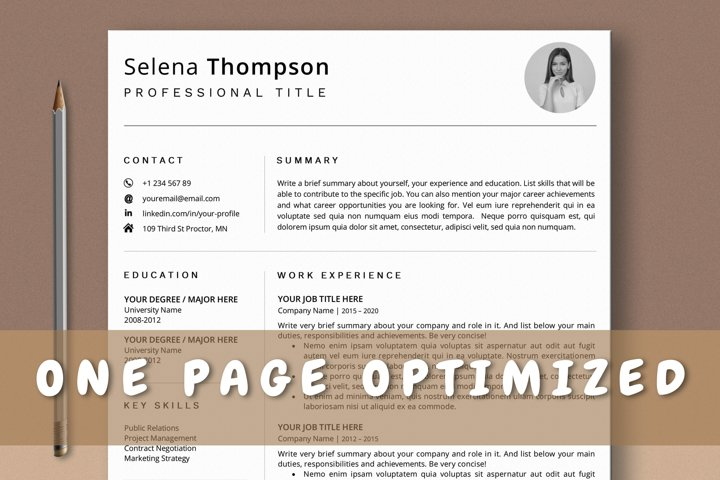 1 Page Resume Template, One Page CV Template for Word, Pages