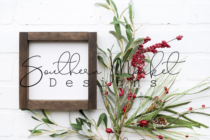 6x6 Christmas Wood Sign Mock Up Farmhouse Styled Photo