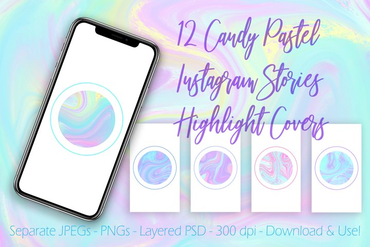 12 Candy Pastel Instagram Stories Highlight Covers Buttons