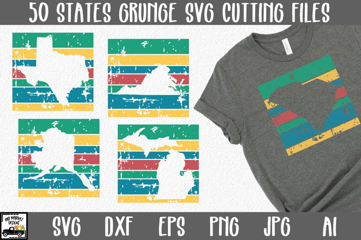 50 States SVG Bundle - Retro Grunge States Cut Files