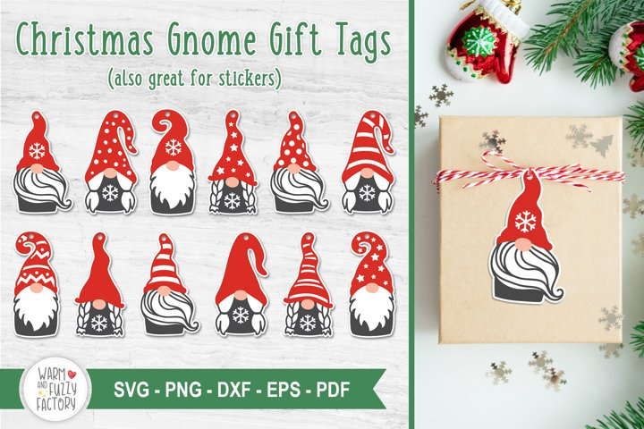 Christmas Gnome Gift Tags SVG, Gnomes SVG | SVG Cut File