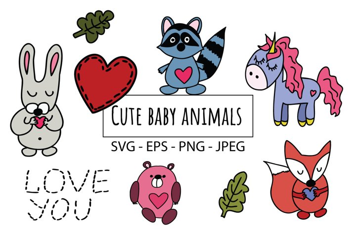 Cute baby animals, forest animals SVG and PNG files
