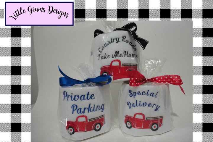 Red Vintage Truck Toilet Paper Embroidery Designs 3 designs