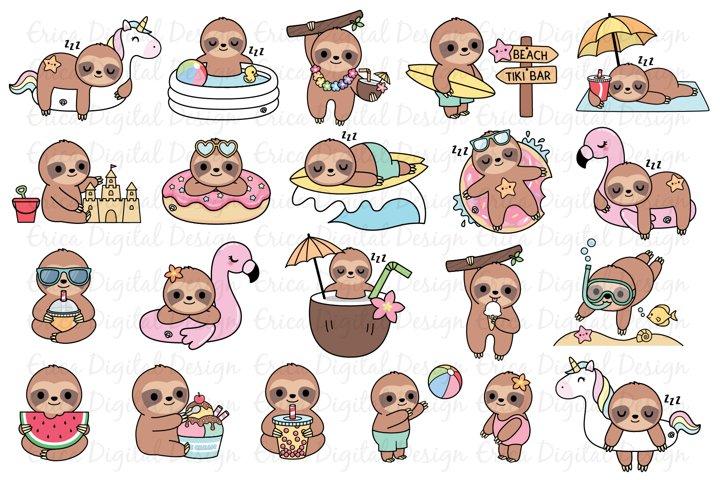 Summer Sloths clipart set - 20 Funny sloth images - Bundle