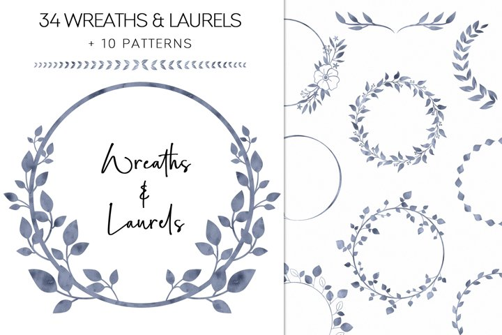 Blue Watercolor Wreaths And Laurels Clipart, Greenery PNG