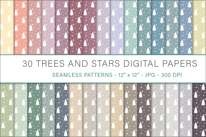 Tree and Stars digital papers - 30 Seamless Designs