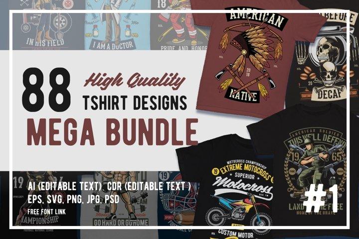88 Tshirt Designs Mega Bundle #1