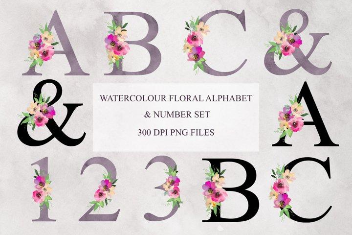 Watercolour Floral Alphabet and Number Clipart Bundle