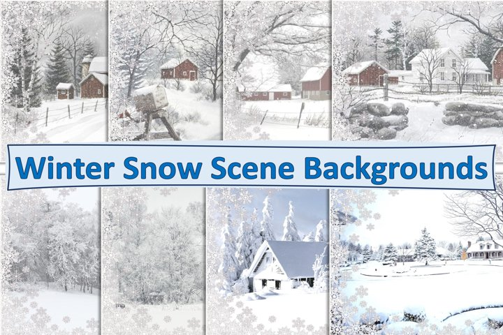 Winter Snow Scene Backgrounds A4 Letter Size JPEG and PDF