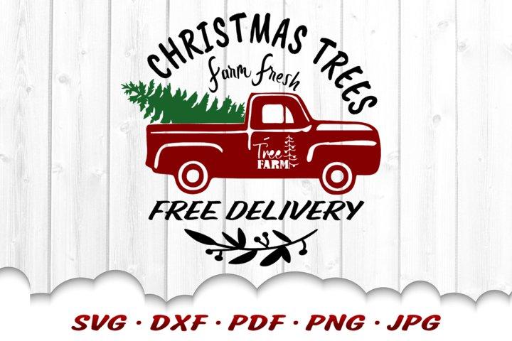 Christmas Tree Truck SVG DXF Cut Files