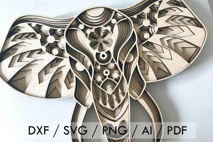 Cut File - Multilayer Elephant Mandala Versatile Pattern