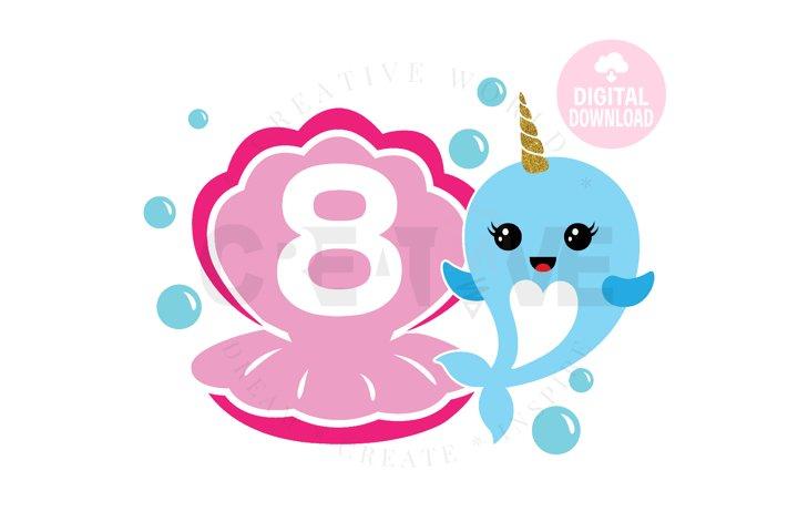 8th Birthday svg | My 8th Birthday svg | Narwhal Birthday