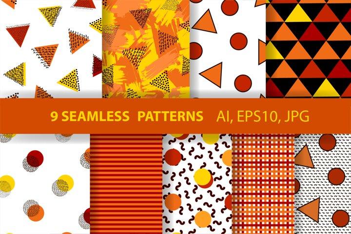 9 geometric seamless patterns. Autumn digital papers.