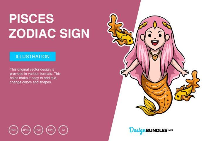Pisces Zodiac Sign Vector Illustration