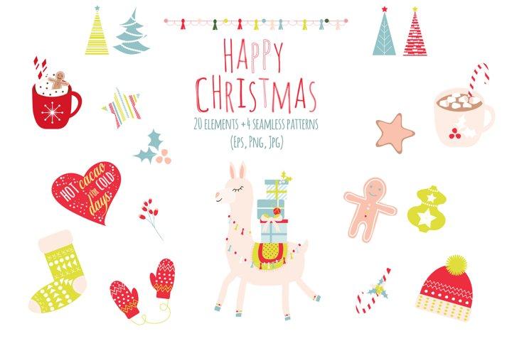Lama Christmas set, Scandi style