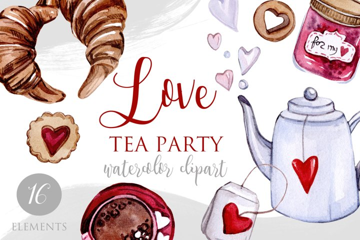 Love tea party - Watercolor love clipart