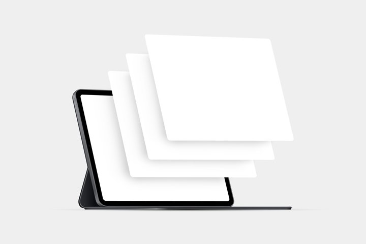 Tablet computer mockup with blank wireframing pages