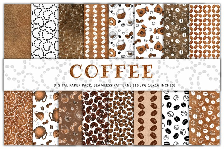 Coffee. Digital paper pack. Seamless pattern. Watercolor