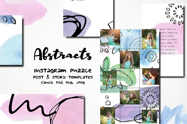 Abstracts watercolor instagram puzzle template |canva & PS
