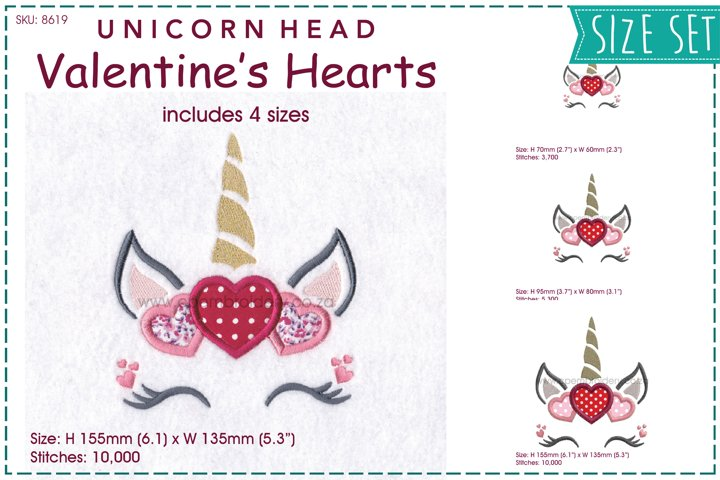 Unicorn Head Valentines Hearts Applique Embroidery Design