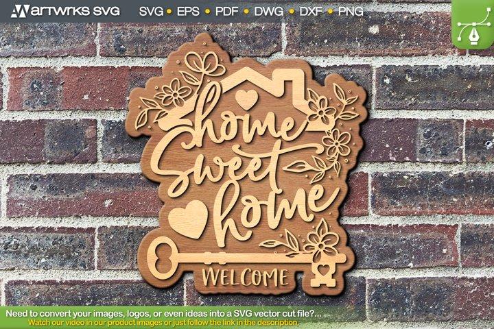 Home sweet home SVG Decor Laser cut files by Artworks SVG