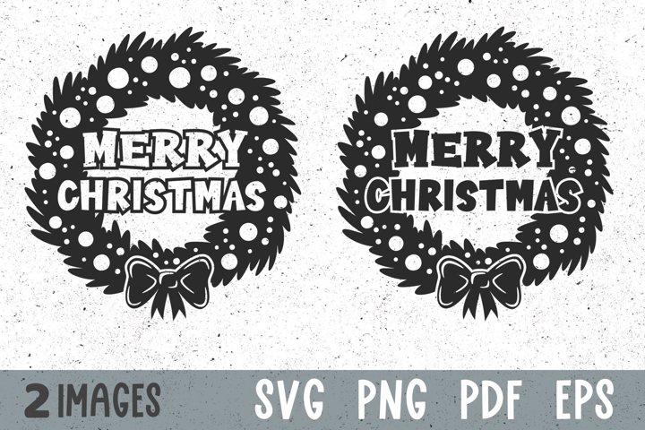 Christmas wreath svg Merry Christmas decal svg cut files