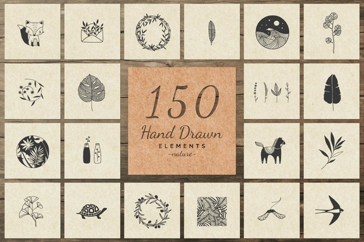 150 Hand Drawn Elements -Nature II-