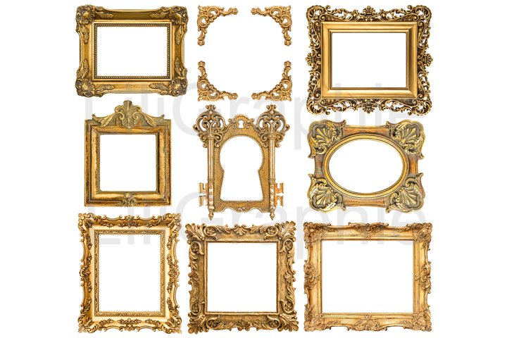 Golden picture frames isolated on white background
