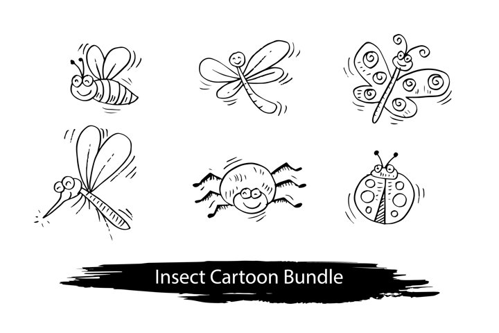 Insect cartoon set
