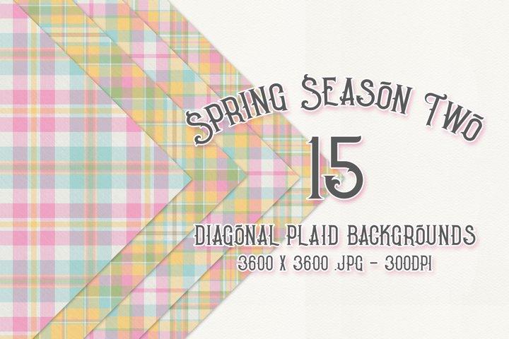 Spring Season Two - Diagonal Plaid Digital Papers