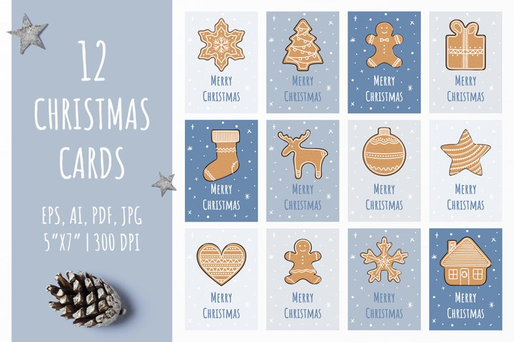 Christmas gingerbread vector cards
