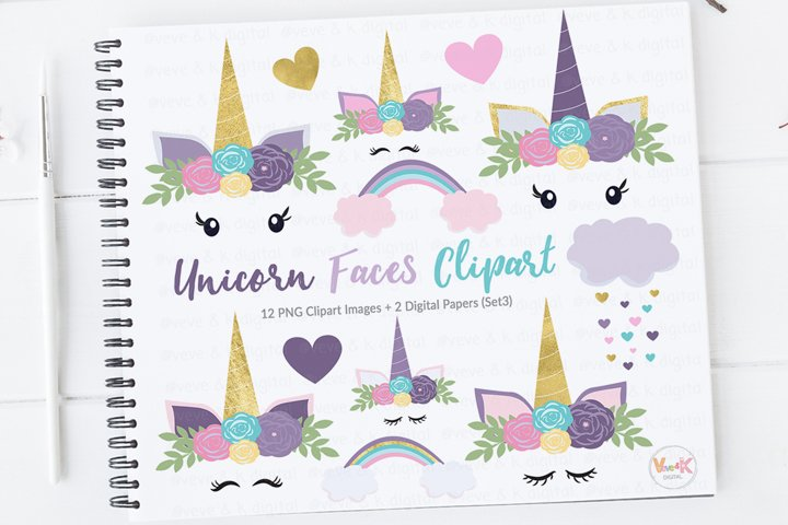 Purple Unicorn Faces Clipart, Unicorns Clipart, Purple Unicorns, Gold Glitter Unicorn Clipart, Purple Clipart, Unicorn Graphics, Unicorns