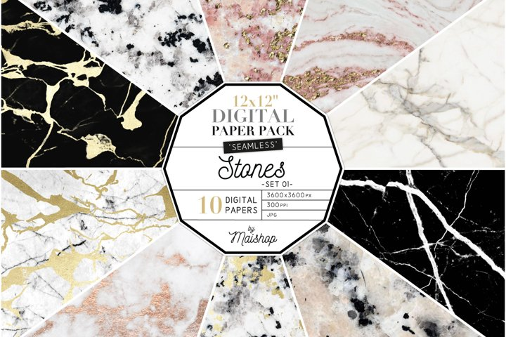 Seamless Digital Paper Pack Stones Set 01