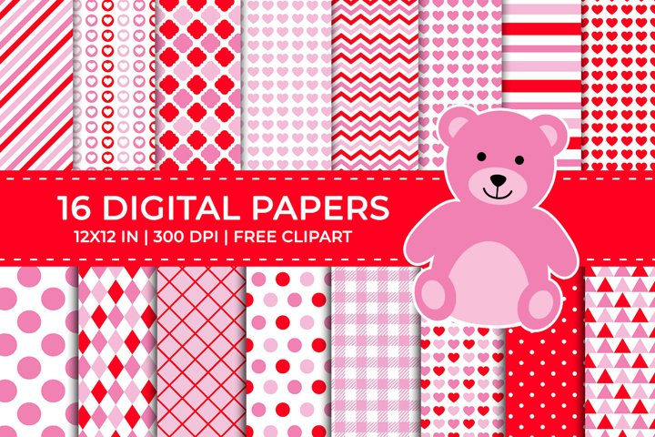 Red & Pink Valentine Digital Papers Set, Free Teddy Clipart
